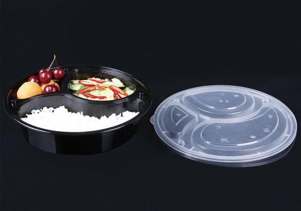 圆型饭盒,三格圆形快餐盒